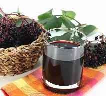Czarny bez: sok z owoców czarnego bzu z liśćmi wiśni